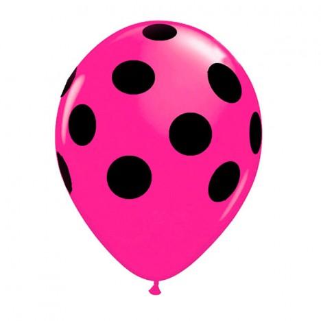 Balões Poá Pink com Bolinhas Pretas 11 Polegadas 25 Un - Catelândia