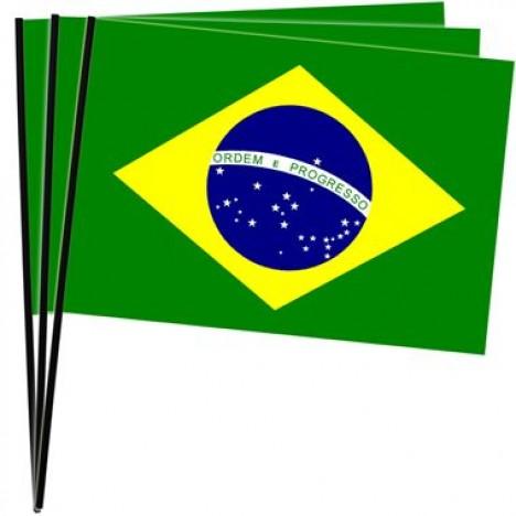 Bandeira do Brasil Copa 2014 Média 10 Un Plástico - Catelândia