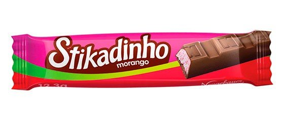 Bombom de Chocolate Recheado com Mousse de Morango Stikadinho 30 Un - Catelândia