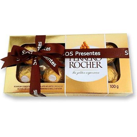 Bombom Ferrero Rocher 15 Unidades - Embalagem de Presente + Laço