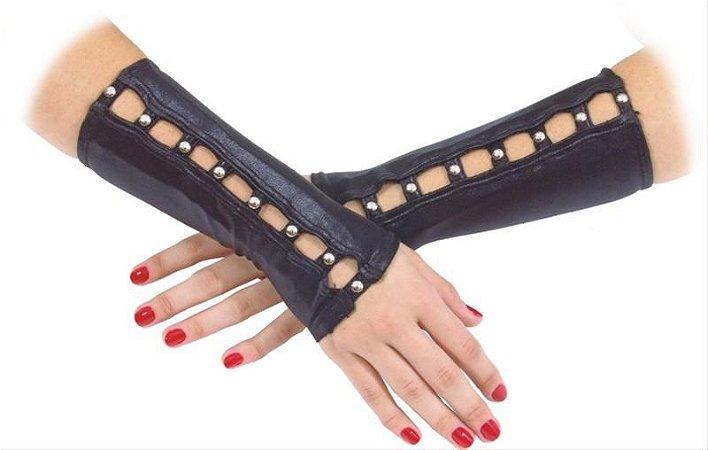 Bracelete Preto de Couro com Rebites de Metal - Halloween