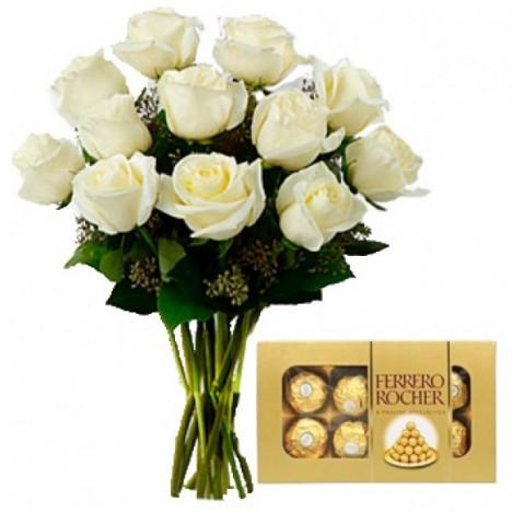 Buquê 12 Rosas Artificiais Brancas Com Chocolates Ferrero Rocher Para Noivas