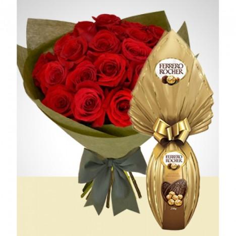 Buquê 18 Rosas Artificiais Com Ovo de Páscoa Ferrero - Presente Namorados
