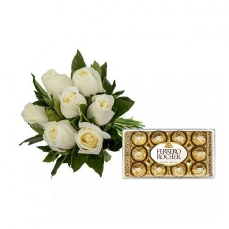 Buquê com 07 Rosas Artificiais Brancas e Chocolate Ferrero - Presente Noivado