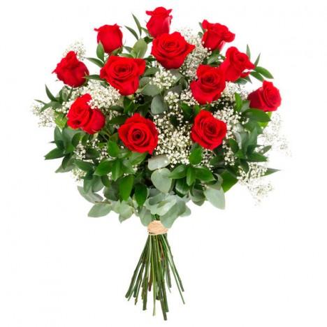 Buquê Com 12 Rosas Vermelhas Naturais Presente Especial Para Namorados