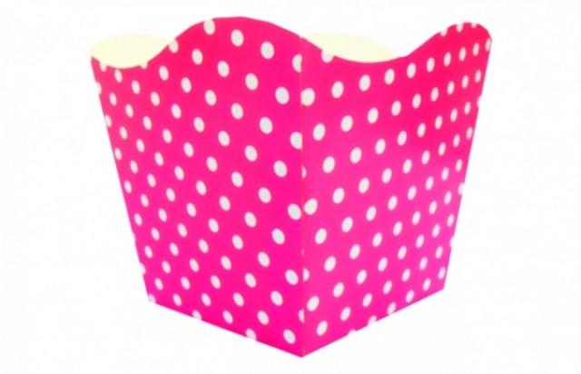 Cachepô Poá Pink com Bolinhas Brancas 10 Un - Catelândia