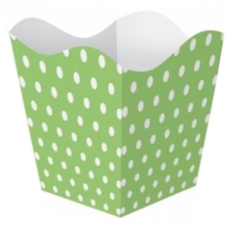 Cachepô Poá Verde com Bolinhas Brancas para Festa de Aniversário 10 Un - Catelândia