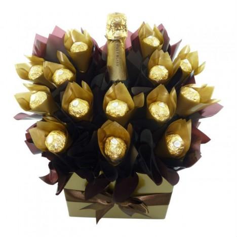 Cesta De Chocolate Para Namorados Ferrero Rocher e Espumante
