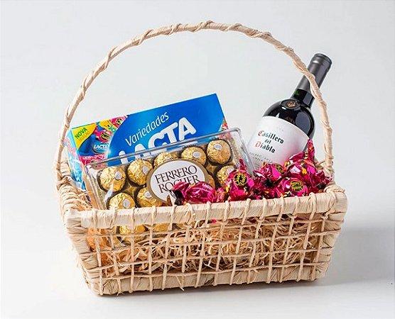 Cesta De Chocolate Presente Para Homens Com Vinho E Bombons Finos