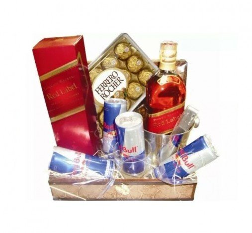 Cesta De Chocolates, Ferrero Rocher, Whisky Red Label e Energéticos