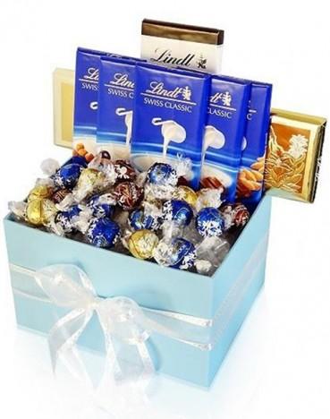 Cesta Fina De Chocolate Importado Lindt, Presente de Páscoa