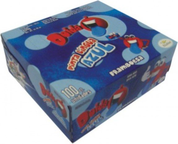 Chiclete de Bola Framboesa Doidão Pinta Língua de Azul 100 Un - Halloween
