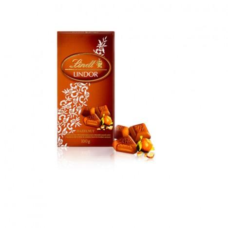 Chocolate Suíço Lindt - Hazelnut Barra Avelã Lindor - 100g