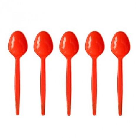Colher de Plástico para Sobremesa 50 Und Vermelha - Catelândia
