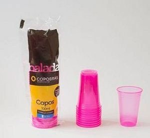 Copo Rosa Brilha na Luz Negra ou Neon 25 Un 300 ml - Catelândia