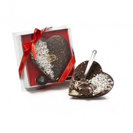Coração de Chocolate Recheado com Brigadeiro e Beijinho 225g - Acompanha Colher de Inox - Catelândia
