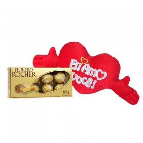 Coração em Pelúcia com Bombom Ferrero Rocher - Presente Romântico