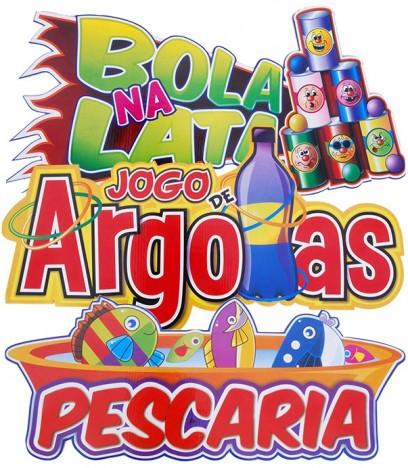 Decoração de Festa Junina 3 Placas Pescaria, Bola na Lata e Jogo de Argolas - Catelândia