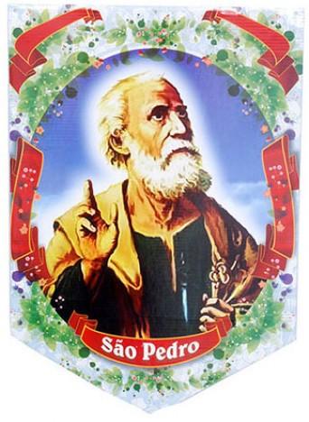 Decoração de Festa Junina Banderola com Imagem de São Pedro - Catelândia