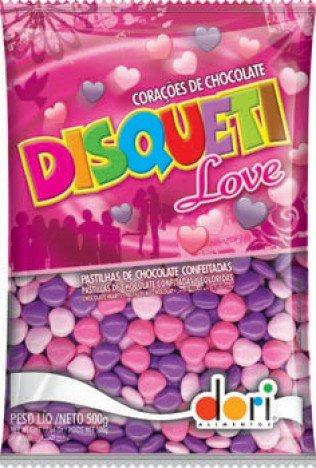 Disqueti Love Pastilhas de Chocolate Tipo Confetis Formato Coração 500g - Dori