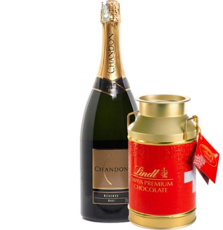 Espumante Chandon + Chocolate Suiço Lindt Gold Can - Grátis Embalagem