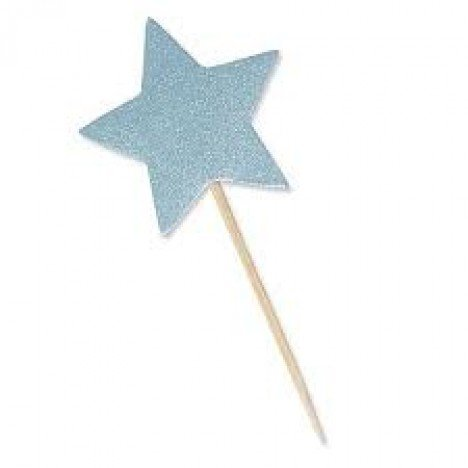 Estrela Azul Claro com Glitter para Lembrancinhas 10 Unidades - Catelândia