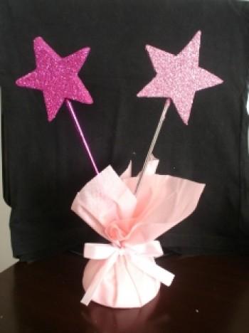 Estrela Pink com Glitter para Lembrancinha 10 Un - Catelândia