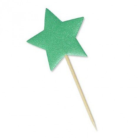 Estrela Verde Bandeira com Glitter 10 Un - Catelândia