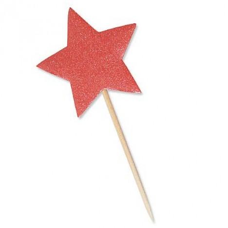 Estrela Vermelha Glitter para Lembrancinha 10 Un - Catelândia
