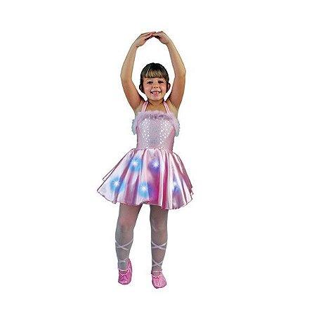 Fantasia Bailarina com Sapatilha e Vestido  Luzes Brilho Magico - New Toys
