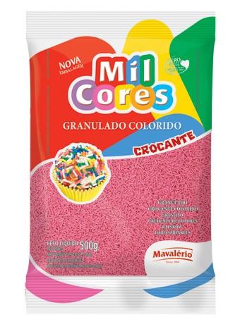 Granulado Colorido Mil Cores Rosa para Docinhos 500g - Mavalério
