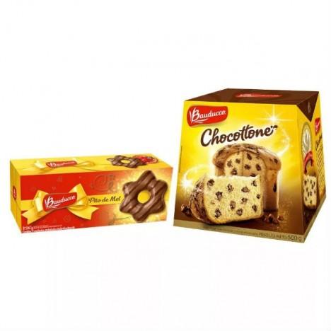 Kit de Natal - Chocottone e Pão de Mel - Gotas de Chocolate - Bauducco - Catelândia