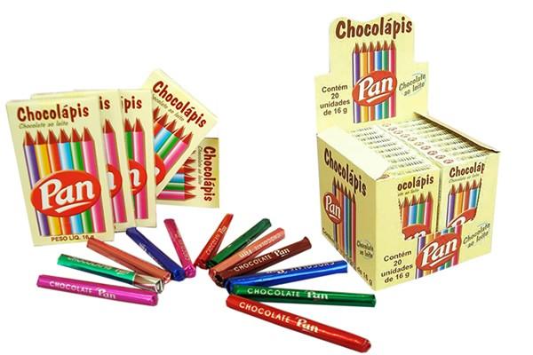 Lápis de Chocolate Chocolápis Carteira c/6 Unidades Embalagem Cx. Display c/20 Un - Pan