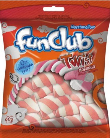 Marshmallow Twist Rosa e Branco para Mesas de Guloseimas 250g - Catelândia