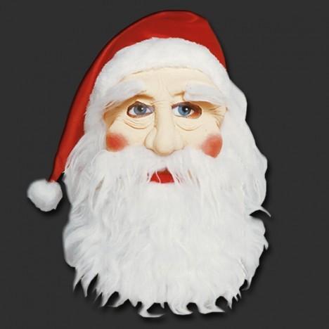 Máscara de Papai Noel Emborrachada com Cabelo, Barba, Bigode e Gorro - Catelândia