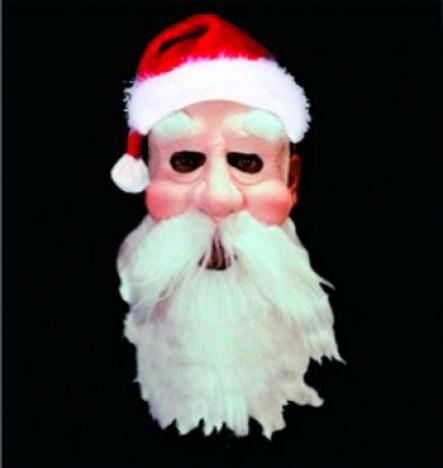 Máscara de Papai Noel Emborrachada com Detalhe Realístico + Gorro - Catelândia