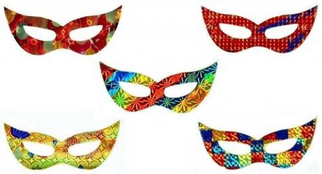 Máscara Gatinha Holográfica Cores Diversas Pacote 10 Un - Catelândia