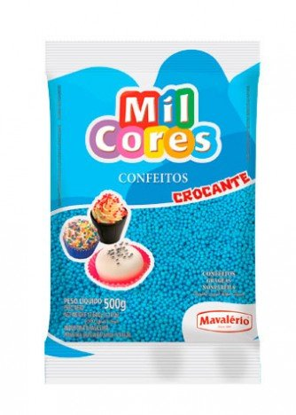 Miçanga N° 0 Confeito Alimentício Decorativo Azul 500g - Catelândia