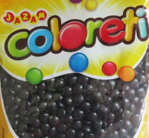 Mini Pastilhas de Chocolate Tipo Confetis Preta Coloreti 500g - Catelândia