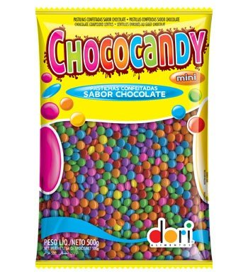 Mini Pastilhas Sabor Chocolate Tipo M&M's Coloridas 500g - Chococandy