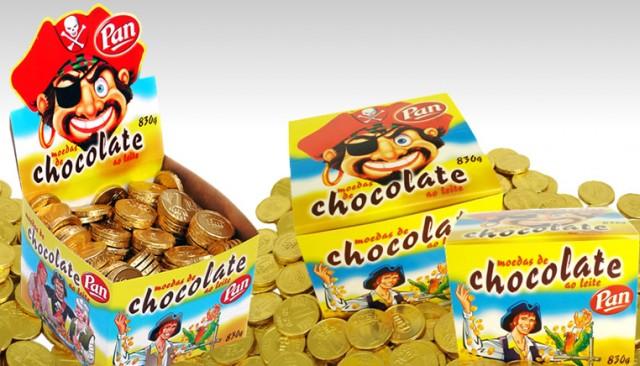 Moedas de Chocolate ao Leite Aproximadamente 250 Un 830g - Pan