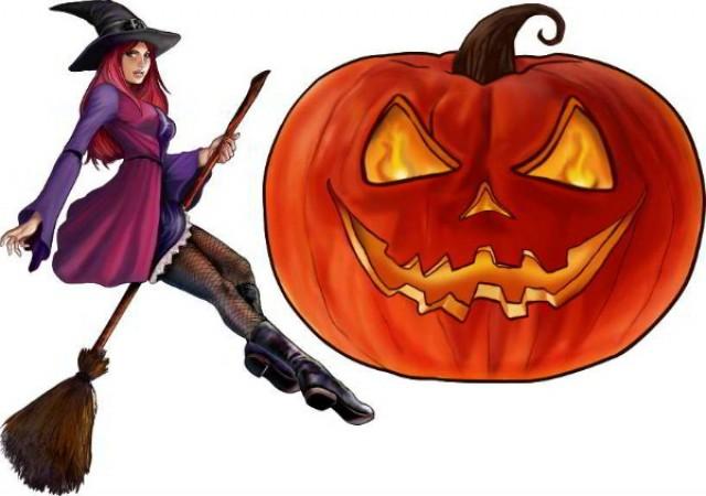 Painel Decorativo - Festa Halloween - Bruxa & Abóbora - Catelândia