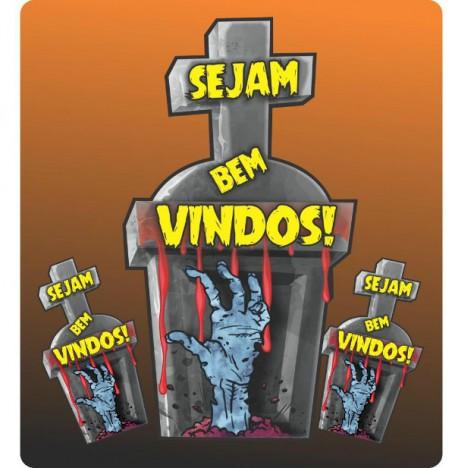 Painel Decorativo - Sejam Bem Vindos - Festa Halloween - Lápide Grande 3 Un - Catelândia