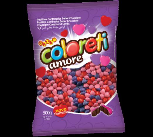 Pastilhas de Chocolate Formato Coração Coloreti Amore 500g - Catelândia