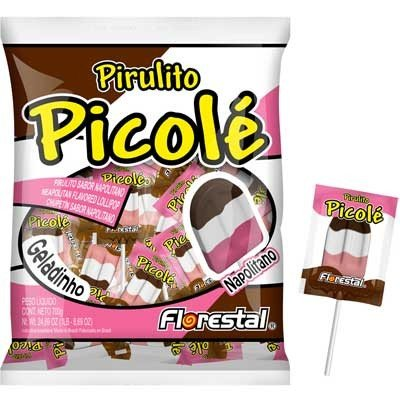 Pirulito com 3 Cores no Formato de Picolé Sabor Napolitano 50 Un - Catelândia