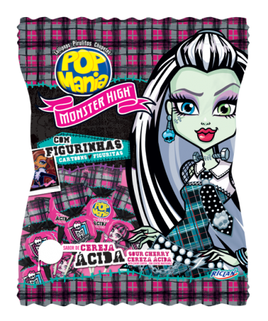 Pirulito Monster High com Figurinhas Adesivas 50 Unidades - Catelândia