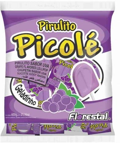 Pirulito no Formato de Picolé Sabor Uva Efeito Geladinho 50 Un - Catelândia