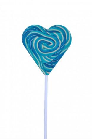Pirulito Psicodélico Azul e Branco Coração 8 cm de Diâmetro 20 cm Altura - Catelândia