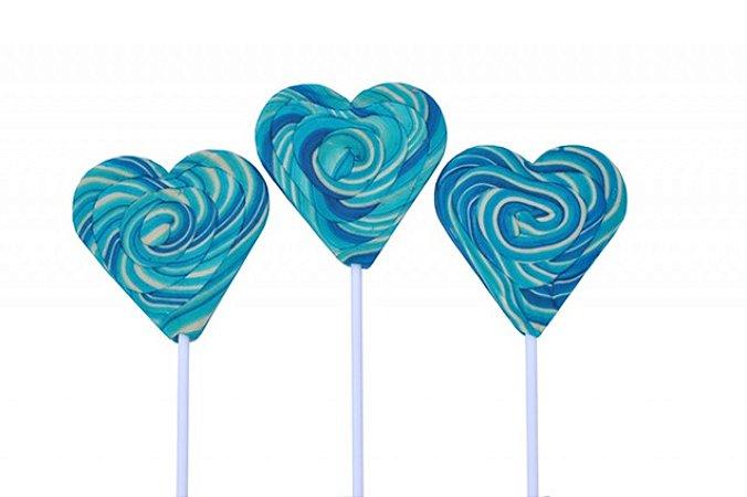 Pirulito Psicodélico Coração Azul 8 cm de Diâmetro 20 cm Altura 15 Un - Catelândia