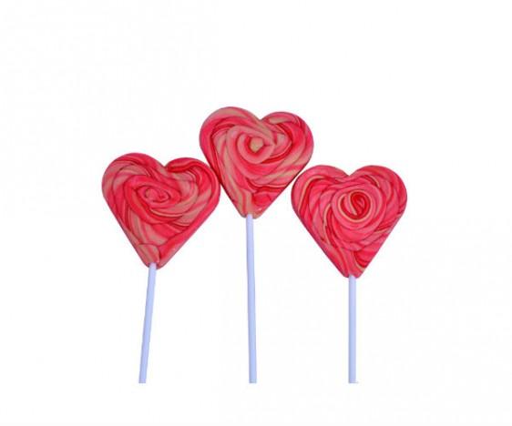 Pirulito Psicodélico Coração Rosa 8 cm de Diâmetro 20 cm Altura 15 Un - Catelândia